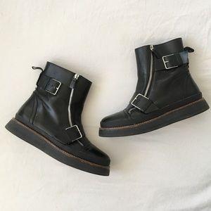 Zara chunky black leather moto boots